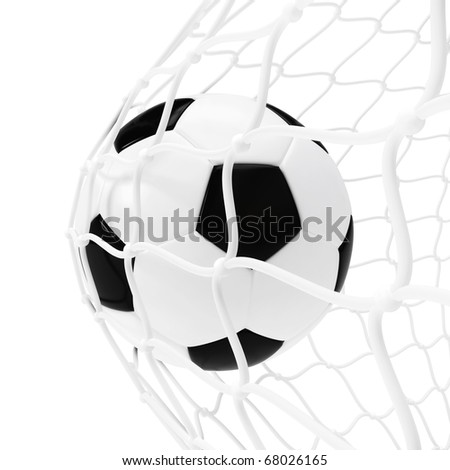 Soccer ball inside the net isolated on white - stock photo