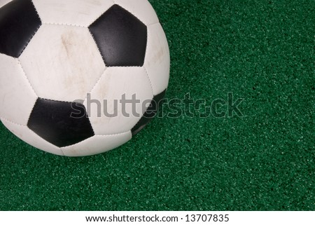 soccer ball isolated on a field of artificial grass