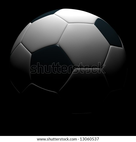 Soccer ball isolated on black background. 3D rendering. - stock photo