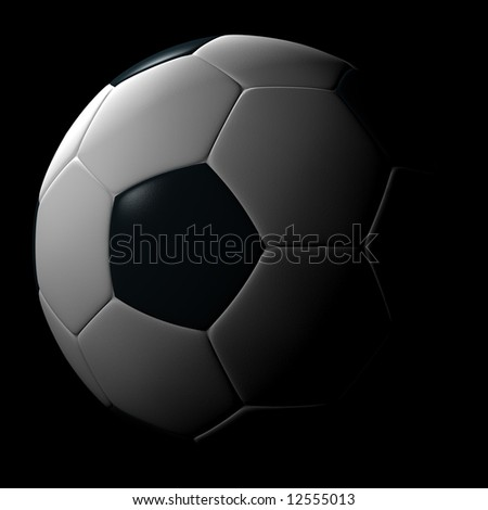 Soccer ball isolated on black background. Photo-realistic 3D rendering. - stock photo