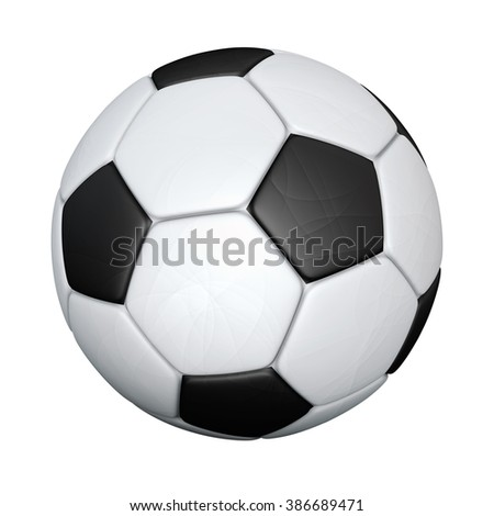 Soccer ball isolated on white background. Detailed illustration.