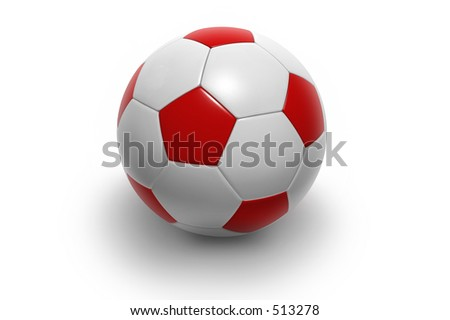 Soccer ball isolated on white background. Photorealistic 3D rendering. (red and white, see portfolio for more colors) - stock photo