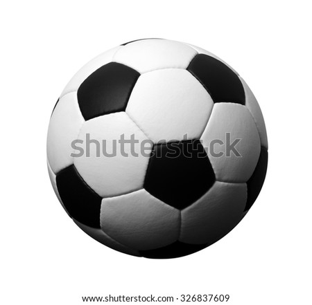 soccer ball isolated on white. football with shadow. sports icon. - stock photo