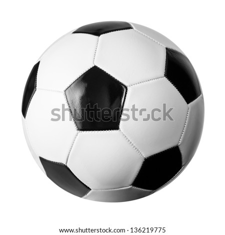 Soccer ball isolated on white with clipping path included - stock photo