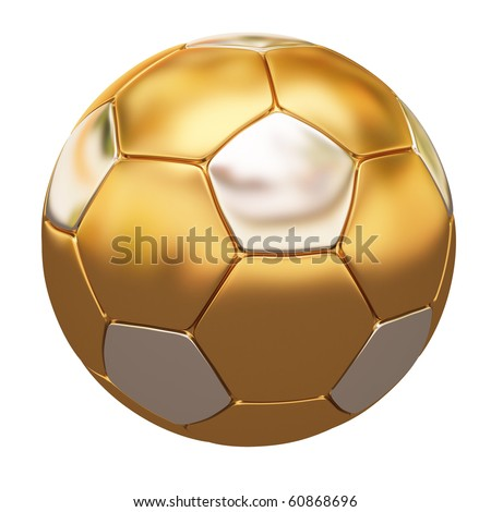soccer ball made of gold and silver. isolated on white. - stock photo