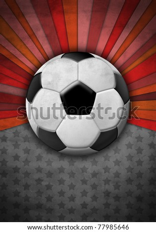Soccer ball on a background of gray and red colors - stock photo