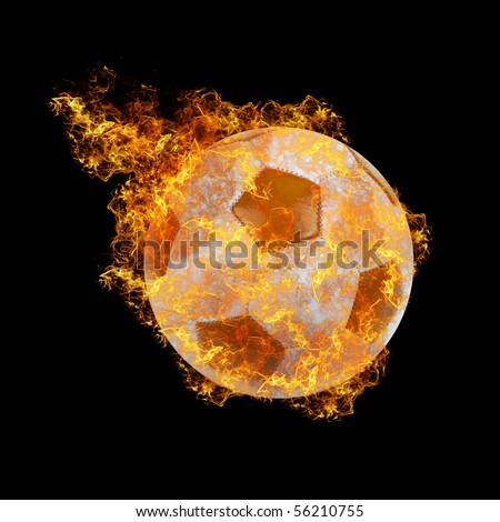 soccer ball on a black fire background - stock photo