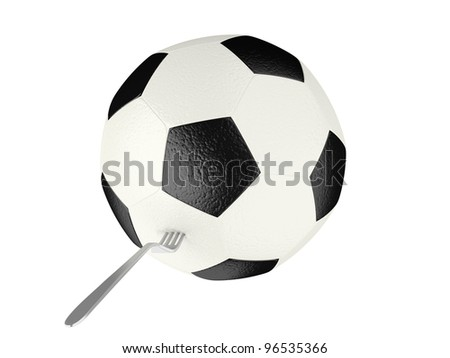 Soccer ball on a fork. Isolated on a white background.
