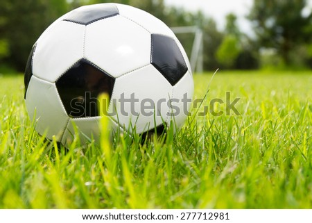 Soccer ball on a grass - stock photo