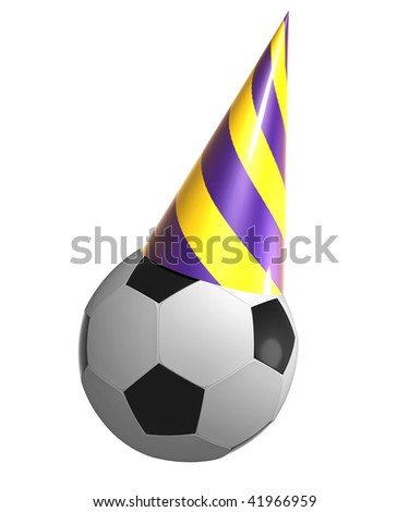 Soccer ball on birthday cone hat - stock photo