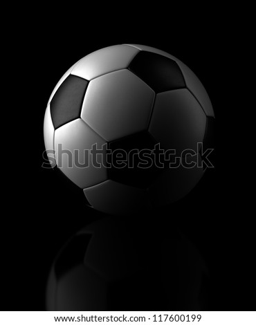 Soccer ball on black background (Computer generated image) - stock photo