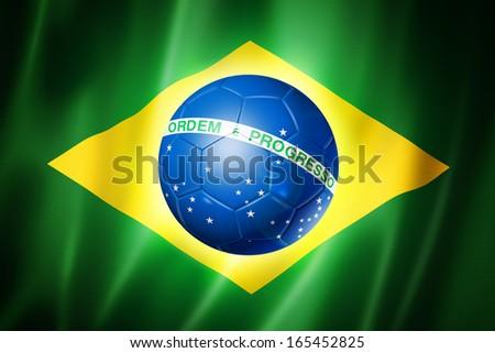soccer ball on brazil flag - stock photo