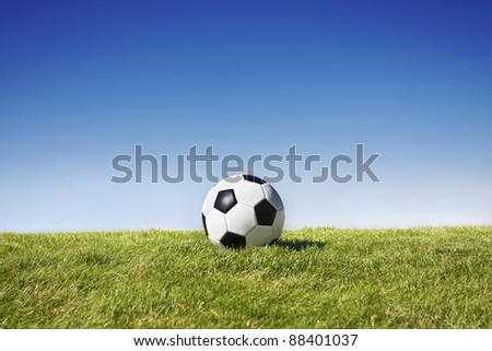 Soccer Ball on field -Lots of Horizontal Copy Space - stock photo