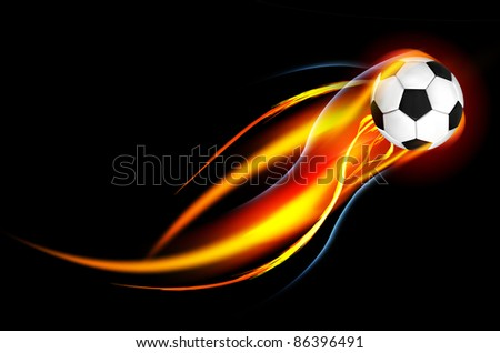 Soccer Ball on Fire - stock photo