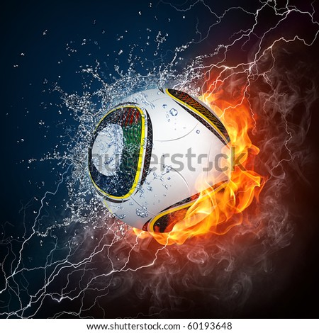 Soccer Ball on Fire and Water. 2D Graphics. Computer Design. - stock photo