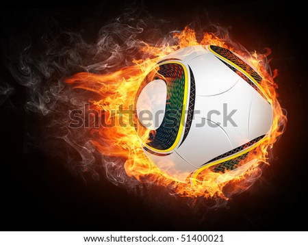 Soccer ball on fire flames isolated on black background.