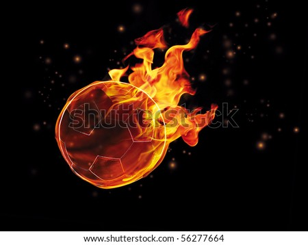 Soccer ball on fire on the black background - stock photo