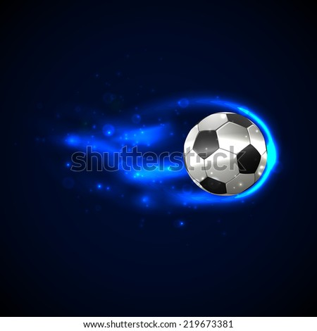 Soccer ball on fire with particles.  illustration - stock photo