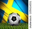 Soccer ball on grass against National Flag. Country Sweden - stock photo