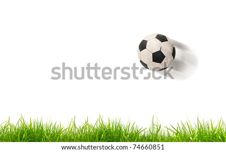 soccer ball on grass. Isolated - stock photo