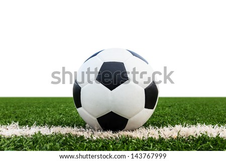 soccer ball on green grass field isolated on white background