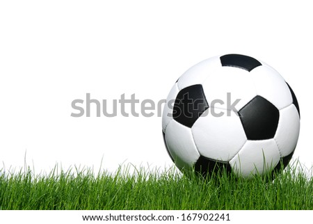 soccer ball on green grass isolated on white - stock photo