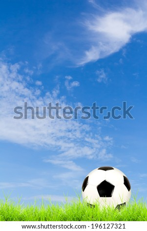 soccer ball on green grass with blue sky background  - stock photo