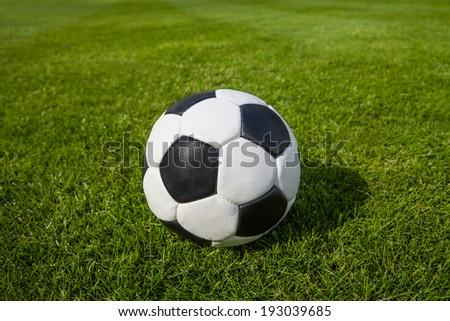 soccer ball on green maedow - stock photo