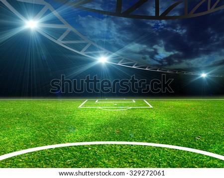 Soccer ball on green stadium, arena in night illuminated bright  - stock photo