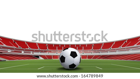 soccer ball on green stadium. 3d - stock photo