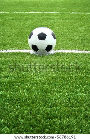 soccer ball on kick point - stock photo