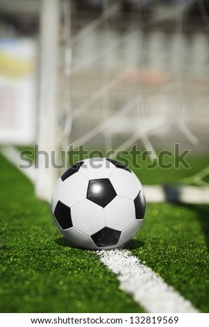soccer ball on line, selective focus - stock photo