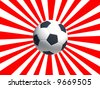 soccer ball on red and white background - stock vector