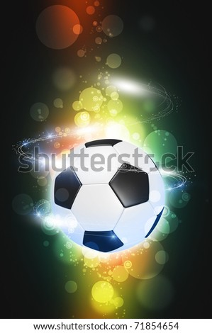 Soccer ball on the color magic glow background - stock photo