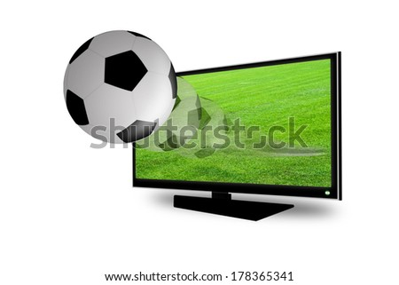 Soccer ball on the 3D television - stock photo