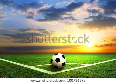 soccer ball on the field - stock photo
