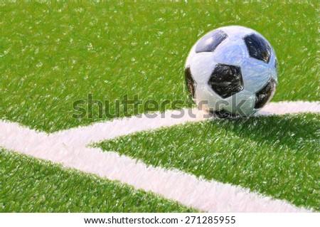 Soccer ball on the field. Digital illustration - stock photo