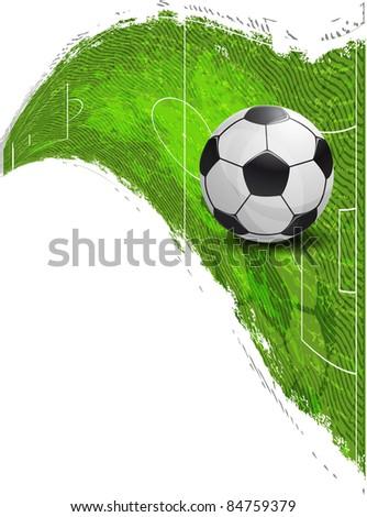 Soccer Ball on the football field - stock photo