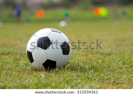 Soccer ball on the football stadium
