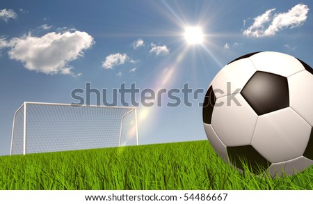 Soccer ball on the grass - stock photo