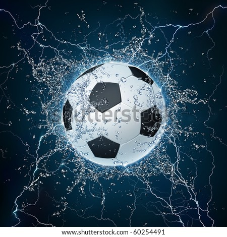 Soccer Ball on Water. 2D Graphics. Computer Design. - stock photo