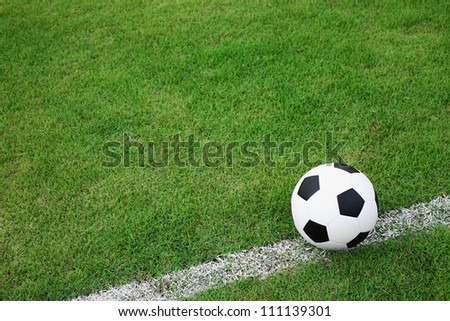 soccer  ball on white line.