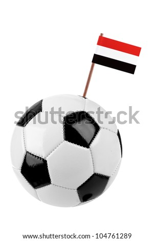 Soccer ball or football decorated with a small national flag of Egypt on a tooth stick - stock photo