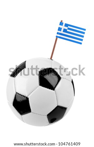 Soccer ball or football decorated with a small national flag of Greece on a tooth stick - stock photo