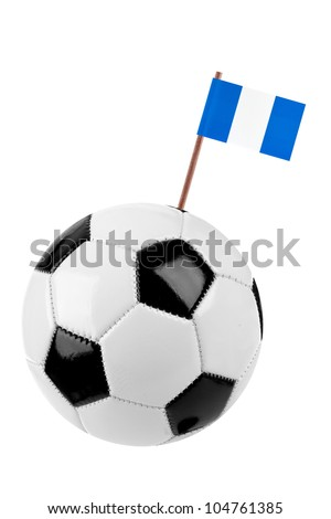 Soccer ball or football decorated with a small national flag of Guatemala on a tooth stick - stock photo