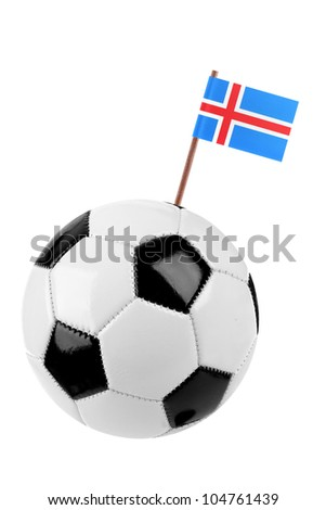 Soccer ball or football decorated with a small national flag of Iceland on a tooth stick - stock photo