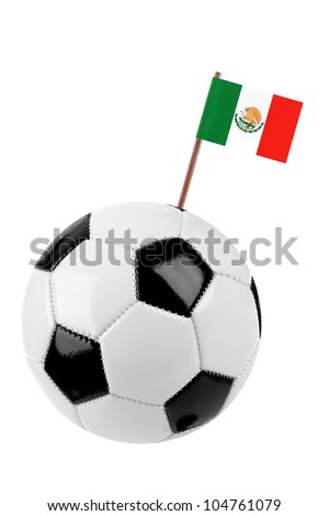 Soccer ball or football decorated with a small national flag of Mexico on a tooth stick - stock photo