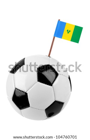 Soccer ball or football decorated with a small national flag of St. Vincent on a tooth stick - stock photo