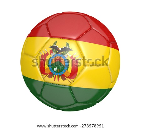 Soccer ball, or football, with the country flag of Bolivia - stock photo