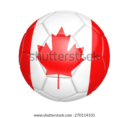 Soccer ball, or football, with the country flag of Canada - stock photo